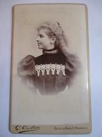 Photographie CDV - Fin XIX ème - Jeune Fille De Profil - Cheveux Longs - Photo G. Ouvière, Marseille   T BE - Photographs