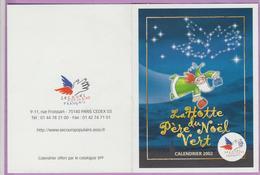 Calendrier °° 2002 - Asso Secours Populaire Français - Hotte Du Père Noël Vert - 8x10 - Kalender