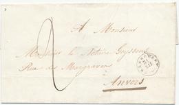 228/28 - Enveloppe Type 18 BRASSCHAET Vers Anvers 1846 - Taxation Encre 2 Décimes - Cote Herlant 2.500 FB - 1830-1849 (Belgique Indépendante)