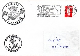 FLF LA FAYETTE 2 Cachets Différents (pendant L'armement) Obl. Lorient Naval 15/06/93 - Postmark Collection (Covers)