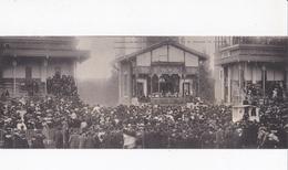 CARTE LETTRE PANORAMIQUE FORMAT 28 X 11 Cm LONCHAMP LE ROI EDOUARD VII DANS LA TRIBUNE PRESIDENTIELLE - Royal Families