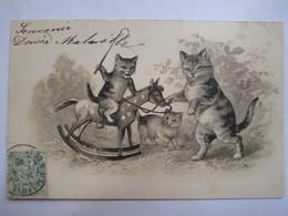 CPA Illustration CHATS Tigrés  - Chat Sur Cheval à Bascule - 1905   TBE - Illustrators & Photographers