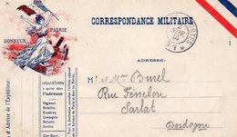 CP-  Drapeau Semeuse-  Correspondance Militaire- T Et P N°91--- - Marcophilie (Lettres)