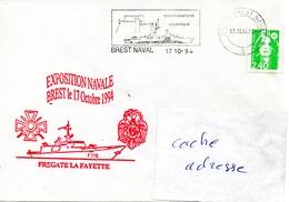 FLF LA FAYETTE Exposition Navale 1994 Obl. Brest Naval 17/10/94 - Postmark Collection (Covers)