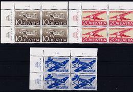 """Schweiz Suisse 1944: """"25 Jahre Luftpost - 25 Ans Poste Aérienne"""" Zu F37-39 Mi 435-437 Yv PA36-38 ** MNH (Zu CHF 10.00) - Luftpost"""