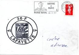 FLF LA FAYETTE Flottille 36F Obl. Paris Naval 24/03/97 - Postmark Collection (Covers)