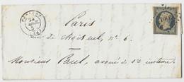 Pli Cacheté De PERIERS (Manche) à PARIS (Seine) - Timbre N° 10 à 25 C. Bleu Losange Petits Chiffres 2401 - 1854 - Manuscrits