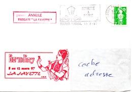 FLF LA FAYETTE  Escale à Bombay (escale Annulée) Obl. Paris Naval 11/03/97 - Postmark Collection (Covers)
