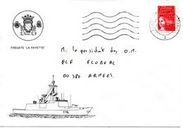 FLF LA FAYETTE  Enveloppe Illustrée Du Bord Obl. Toulon Naval 06/01/98 - Postmark Collection (Covers)