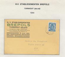 235/28 - CARTES A JOUER Belgique - Carte Publicitaire Bicolore TP Petit Sceau TURNHOUT 1944 - Etablissements BREPOLS - Games