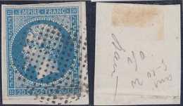 N°14A Superbe Oblitération Bouchon Ou Cercle De Points, Sur Fragment, Signé Baudot, TTB - 1853-1860 Napoleon III