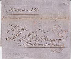 Marque D'entrée Poss Angl  V Suez Lettre Avec Correspondance De Singapour - Postmark Collection (Covers)