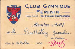 Alpes Maritimes, Nice, Club Gymnique Feminin, Carte De Membre, 1950     (bon Etat) - Cartes