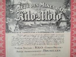 Une Vieille Action De La Société Des Mines D Or De Kilo - Moto Congo - Belge  Colonie Belgique - Documenti Storici