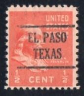 "USA Precancel Vorausentwertung Preo, Locals ""EL PASO"" (Texas). - Stati Uniti"