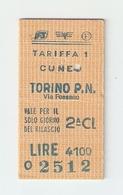 BIGL--00035-- BIGLIETTO FERROVIE DELLO STATO-SEMPLICE ORDINARIO 2 CLASSE-CUNEO -TORINO- 24-6-1985 - Treni