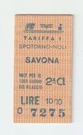 BIGL--00036-- BIGLIETTO FERROVIE DELLO STATO-SEMPLICE ORDINARIO 2 CLASSE-SPOTORNO-NOLI-SAVONA- 13-6-1989 - Treni