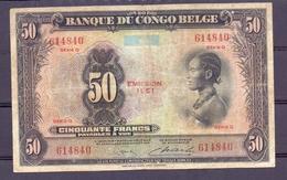 Belgian Congo  50 Fr 1951  Rare - [ 5] Belgisch Kongo