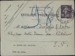 Entier Enveloppe Pneumatique Entier 30c Violet Semeuse Camée 123x95 Dos 19 Villes Sans Date CAD Paris Av D'Orléans - Entiers Postaux