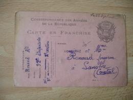 Couleur Rose  Carte  Franchise Postale Militaire Guerre 14.18 - Marcophilie (Lettres)