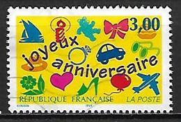 FRANCE   -   1997.    Y&T N° 3046 Oblitéré.     Joyeux Anniversaire.  Avion, Coeur, Voiture, Bougie .... - Frankreich