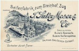 ZUG Werbung LITHO Seifenfabrik Zum Steinhof Suter-Moser & Cie Bahn Rückseite Mit Preisangaben Zu Den Seifen - ZG Zoug
