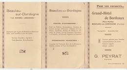 GRAND HOTEL DE BORDEAUX à BEAULIEU Sur DORDOGNE (Corrèze) - Dépliant Et Carte Postale (écrite) - Pubblicitari