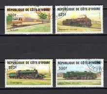 COTE D'IVOIRE  N° 695 à 698    OBLITERES   COTE 4.50€       TRAIN - Ivory Coast (1960-...)