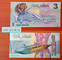 Cook Islands 3 Dollars 1987 P-3 GEM UNC Number!! AAF 021812 - Cook Islands