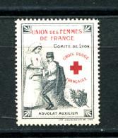 Année  1912 -   CROIX ROUGE Vignette ** N° 80  Du COMITÈ De  LYON De L'UNION DES FEMMES De FRANCE DURANT LA GUERRE - Erinnofilia