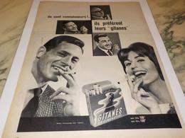 ANCIENNE PUBLICITE IL PREFERE LEURS GITANES 1959 - Publicités