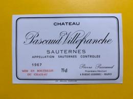 9420 -  Château Pascaud Villefranche 1967 Sauternes - Bordeaux