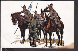 Künstlerpostkarte Ludwig Hohlwein Bayerische Kavallerie Division , Feldpost  1918 - Hohlwein, Ludwig