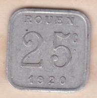 76 . Seine-Maritime. Rouen. Ligue Des Commerçants Rouennais . 25 Centimes 1920 - Monétaires / De Nécessité