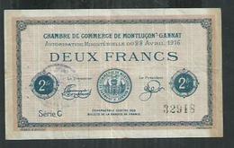 Chambre De Commerce De Montluçon Gannat (Allier)  Bilet De 2 Francs - Bons & Nécessité