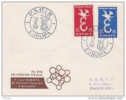 L4C339 France 1958 L PJ Europa Paris  13 09 1958 Oblpavillon Français à Bruxelles - FDC