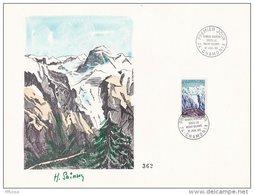 L4C419 France 1965 Obl PJ 0,30f Tunnel Routier Sous Le Mont Blanc PF 17 07 1965/ Encart Signé - FDC
