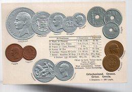 REF 370 - CPA Greque Grece Hellas Greece GREC Monnaies Carte En Relief N° 4 - Griekenland