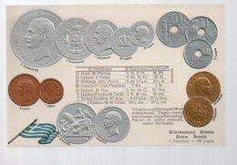REF 370 - CPA Greque Grece Hellas Greece GREC Monnaies Carte En Relief N° 5 Drapeau - Grecia