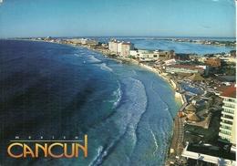"""Cancun (Mexico) Panoramic View Of Hotel Zone, Thematic Stamp """"XVII Maraton Intern. De La Ciudad De Mexico"""" - Messico"""