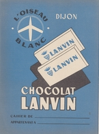 Protège Cahier - CHOCOLAT LANVIN  - DIJON - LOiseau Blanc - Protège-cahiers