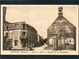 CPA - PLUMELIAU - Rue De La Mairie Et Chapelle De La Congrégation, Animé - Automobile - Frankreich