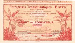"""Action Ancienne - Entreprises Transatlantiques  """"Entra"""" Société Anonyme -Titre De 1928 - Déco - - Navigation"""