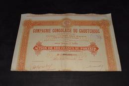 Compagnie Congolaise Du Caoutchouc 100 Frs 1926 - Afrique