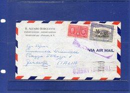##(DAN1812)- Postal History-Panama 1949-Airmail Cover To Italy - Transatlantico-Centenario De Chiriqui Cancel On Back - Panama