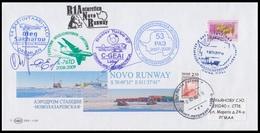RAE-54 RUSSIA 2008 COVER Used STATION NOVOLAZAREVSKAYA ANTARCTIC AIRPORT NOVO RUNWAY MOTORBIKE MOTO AIRPLANE Mailed - Voli Polari