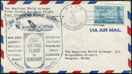WAKE ISLAND Atoll US Possession 1952 PAA First Flight Cover PLANE Cachet FFC To Rangoon Burma Myanmar - Timbres