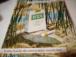 ANCIENNE PUBLICITE CIGARETTE KOOL MENTHOL 1965 - Raucherutensilien (ausser Tabak)