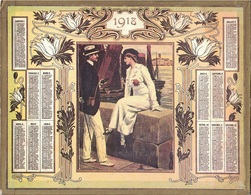 ALMANACH DES POSTES 1918 - FORMAT LIVRET CARTONNE SIMPLE - INCOMPLET JUSTE LE DEVANT. - Calendari
