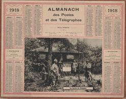 ALMANACH DES POSTES 1918 - FORMAT LIVRET CARTONNE SIMPLE - INCOMPLET - DEVANT SEULEMENT VERSO LEVERS DU SOLEIL - Big : 1941-60
